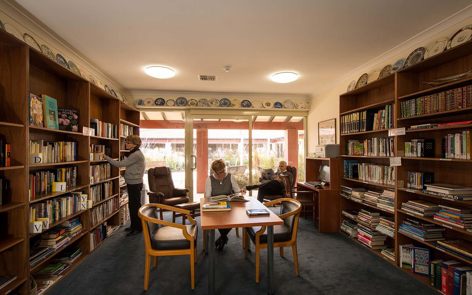 library in retirement facilities